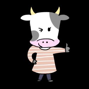 サムズアップする女性風の牛のイラスト
