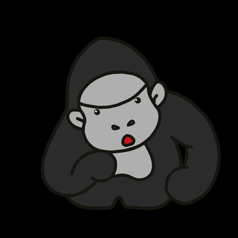 シルバーバックゴリラが首をかしげて疑問に思っているの表情のイラスト