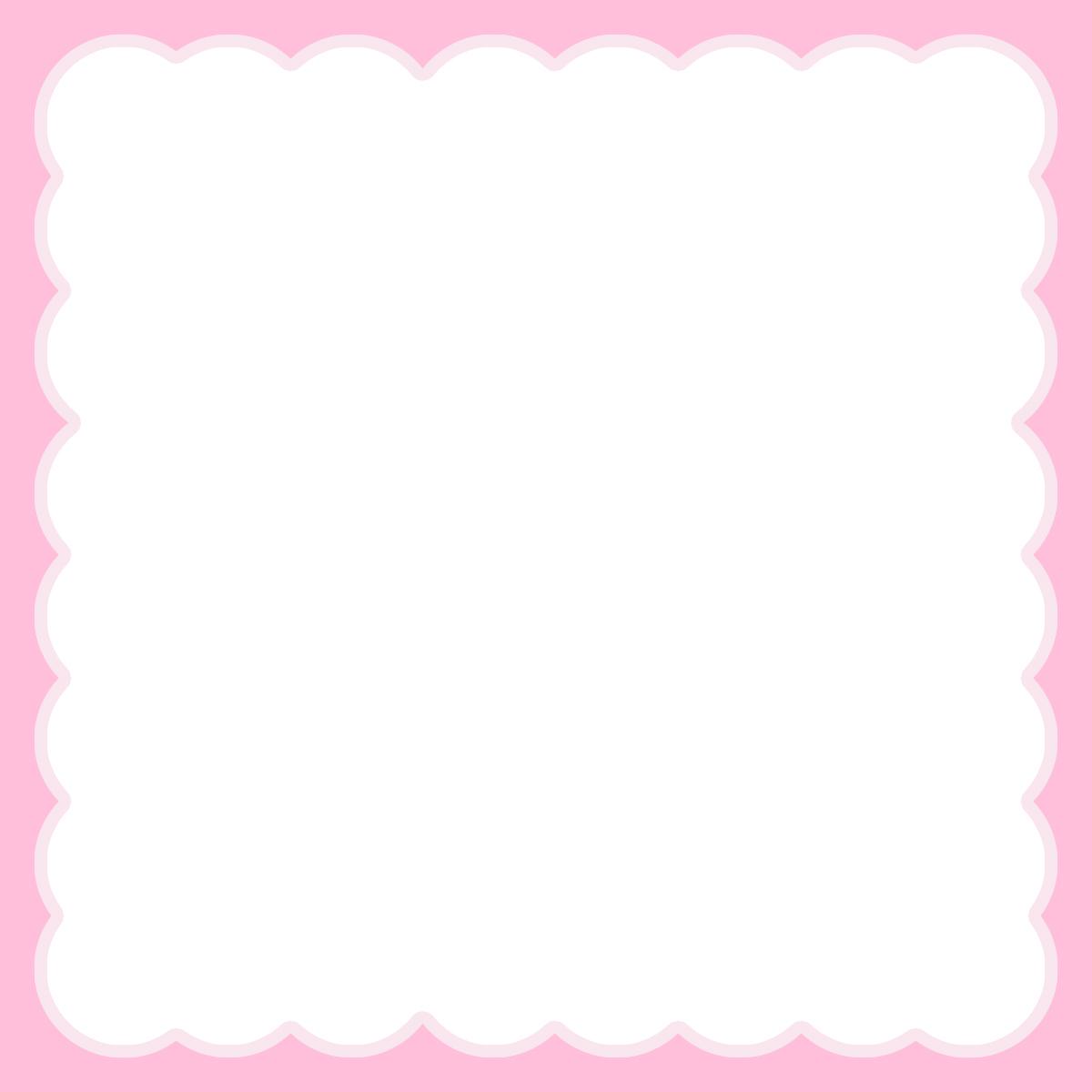【Instagram用】ピンクのモコモコの背景フレームのイラスト