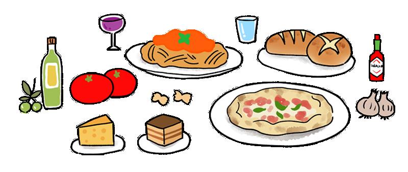 イタリア料理のイラスト