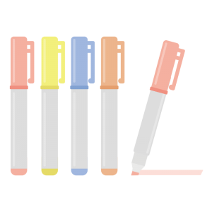 いろいろな色の蛍光ペンのイラスト