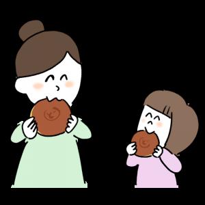 どら焼きを食べる親子のイラスト