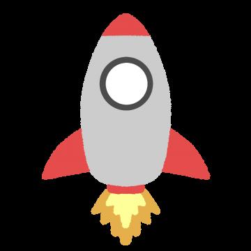 発車するロケットのイラスト