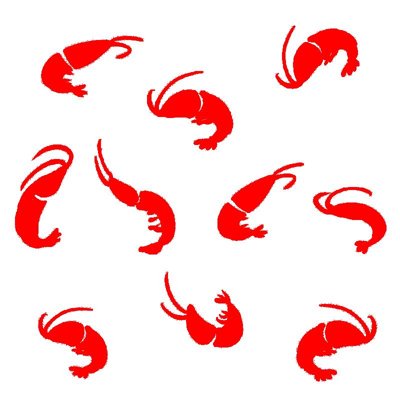 たくさんの海老のシルエットのイラスト