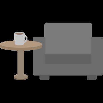 空港ラウンジのソファーのイラスト