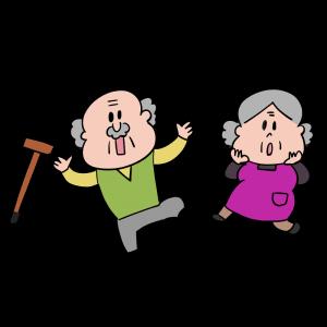 驚くおじいさんとおばあさんのイラスト