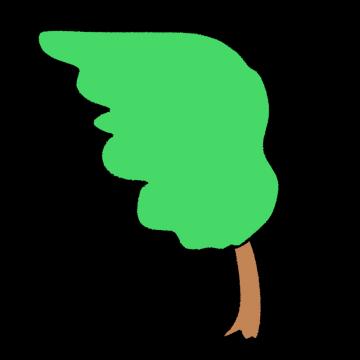 強風に吹かれる木のイラスト