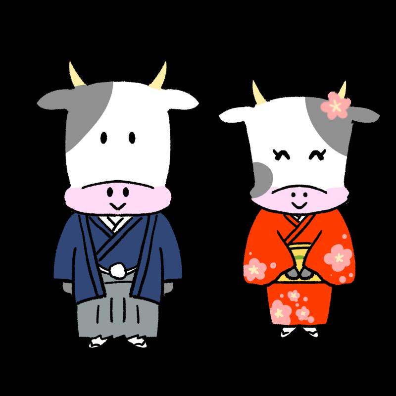 晴れ着を着た男女の牛のイラスト