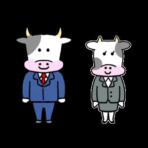 牛の会社員のイラスト