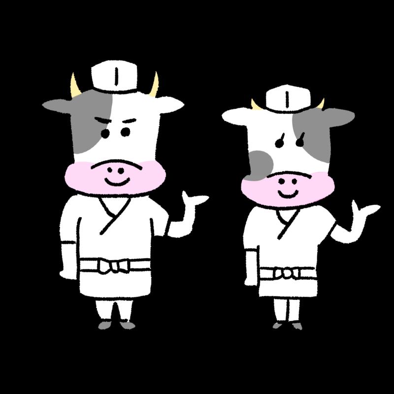 牛のお寿司屋さんのイラスト