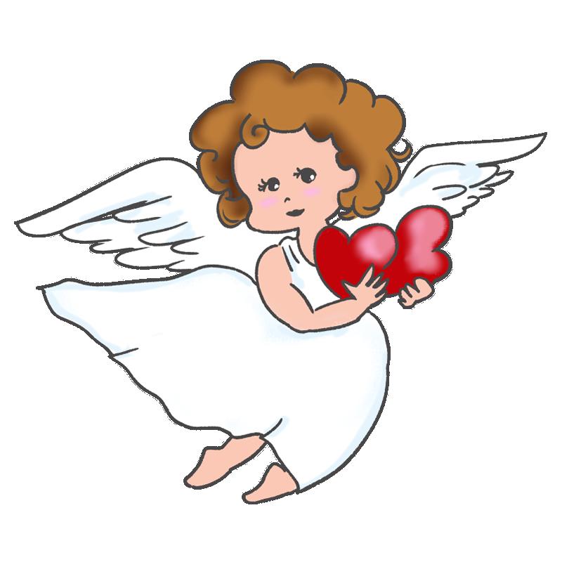 ハートを持った女の子の天使のイラスト