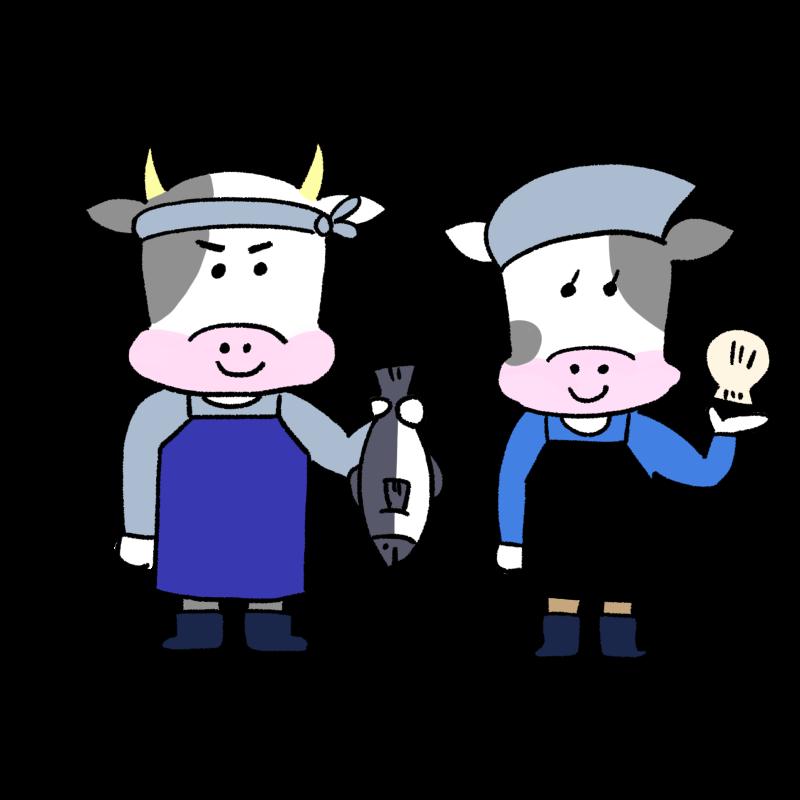 牛の魚屋さんのイラスト