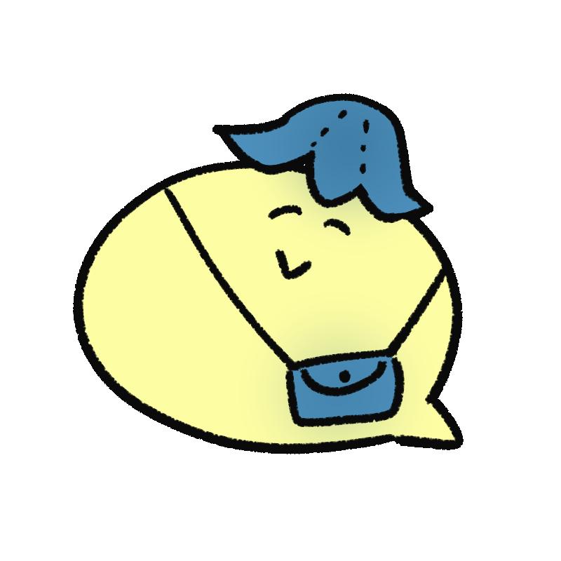 デニムを身に着けるキャラクターのイラスト