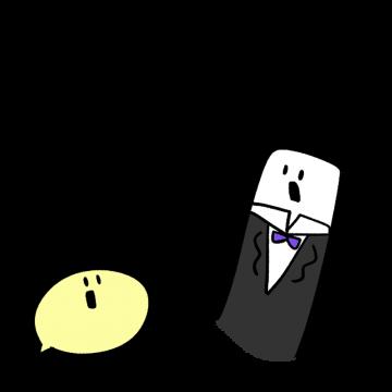 スーツを着て驚いている様子のイラスト