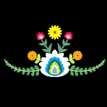 メキシコ風な花の模様のイラスト