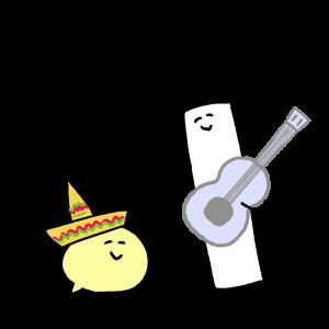 メキシコ風な音楽を楽しんでいるイラスト