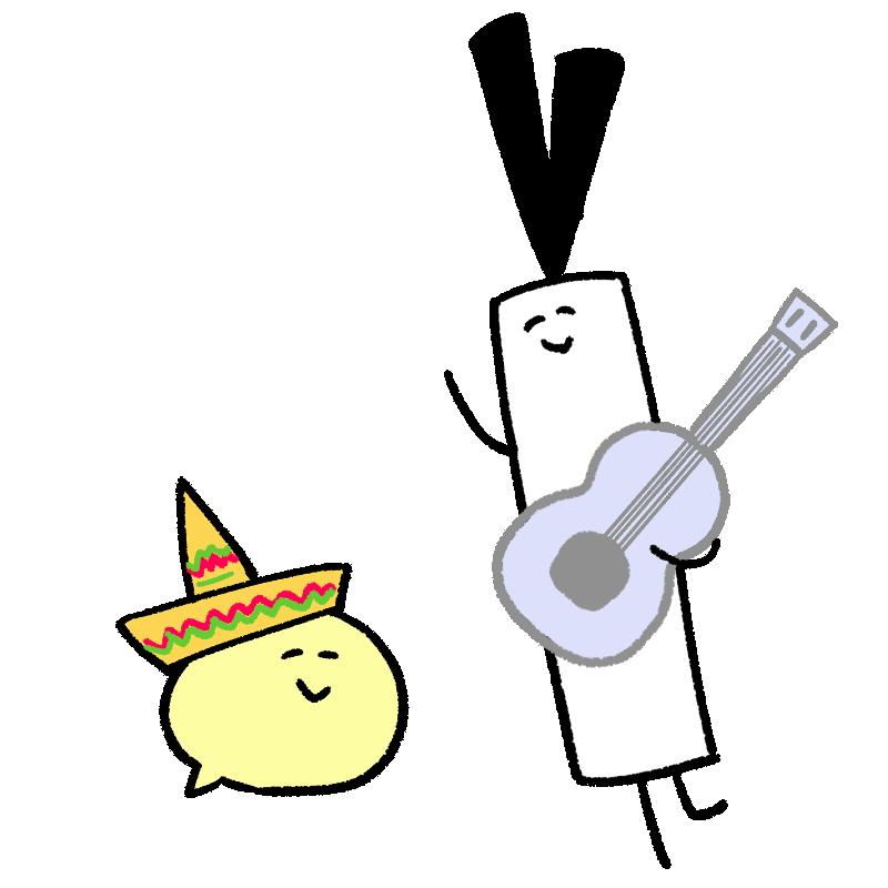 メキシコ風の音楽を楽しんでいるイラスト
