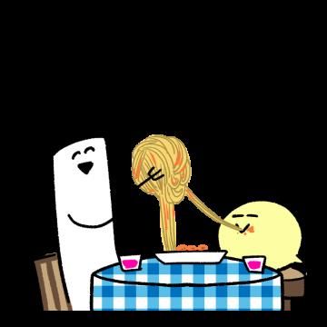 スパゲティを食べているイラスト