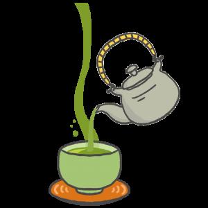 お茶を注ぐイラスト