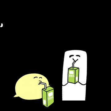 豆乳を飲んでいる様子のイラスト