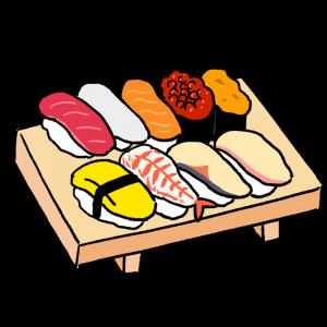 寿司8貫のイラスト