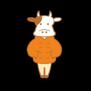 オレンジ色のダウンジャケットを着た牛のイラスト