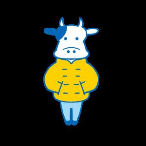 黄色いダウンジャケットを着た牛のイラスト