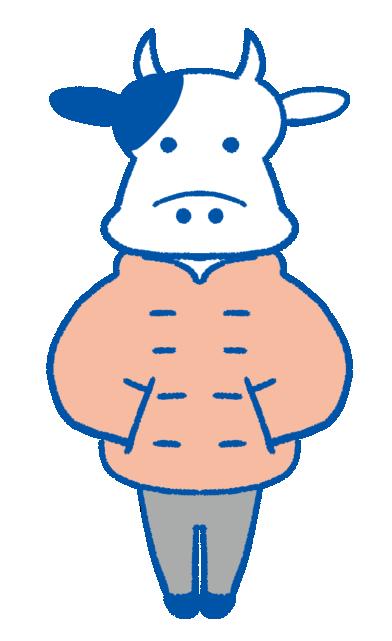 ピンクのダウンジャケットを着た牛のイラスト