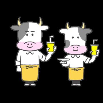 カフェ店員風の牛のイラスト