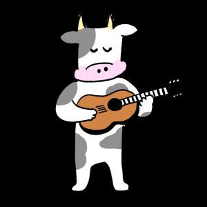 ギターを弾く牛のイラスト