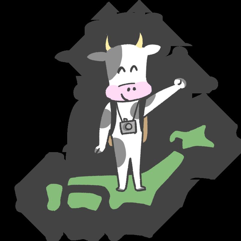 旅行に行く牛のイラスト