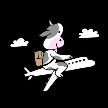 飛行機に乗って旅行に行く牛のイラスト