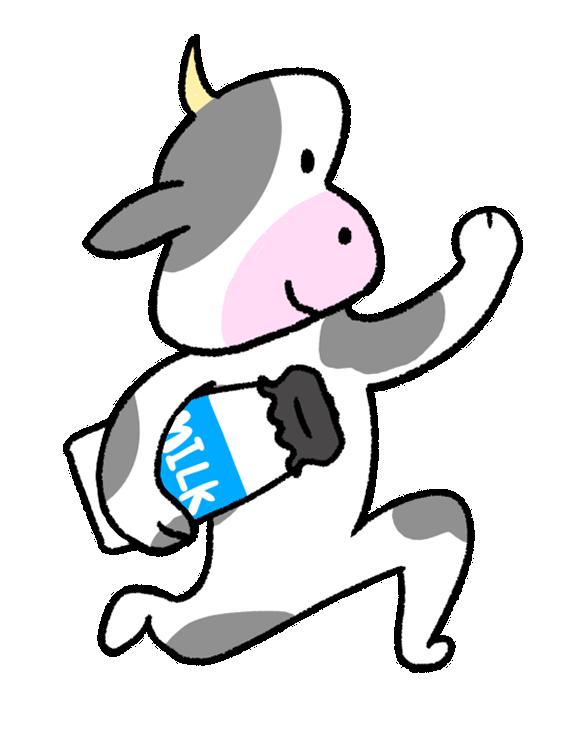 牛乳を持って走る牛
