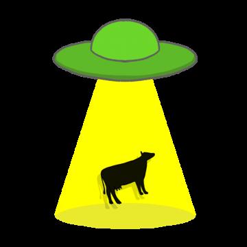 UFOにさらわれる牛のイラスト