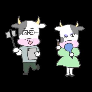 牛のユーチューバーのイラスト