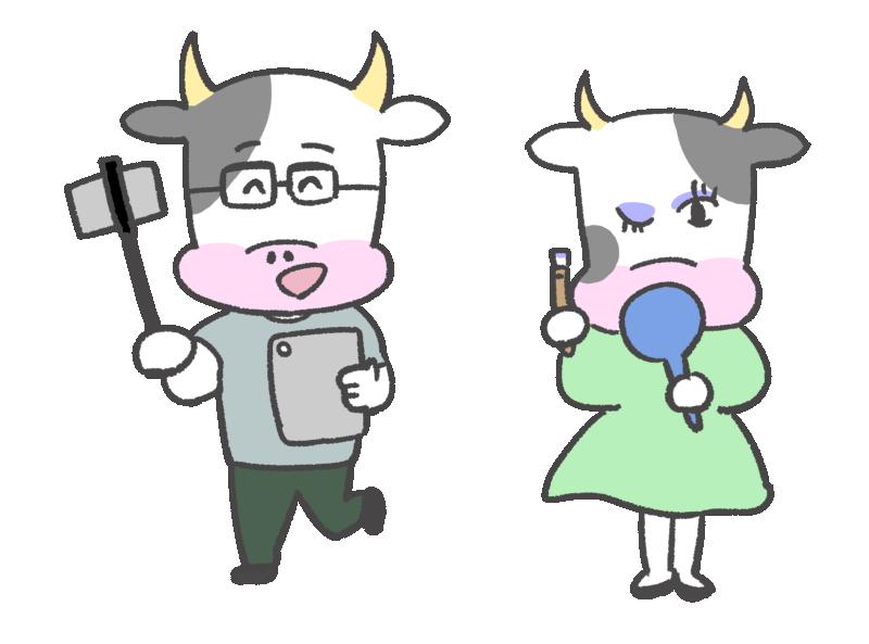 牛のユーチューバー(YouTuber)のイラスト