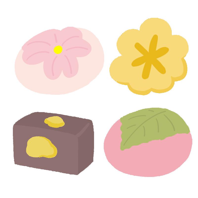 4種類の和菓子のイラスト