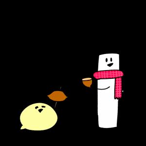 焼き芋を食べるふたりのイラスト