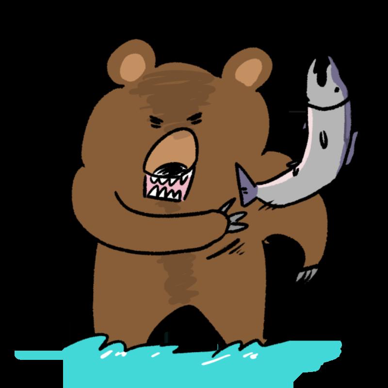 鮭を捕るクマのイラスト