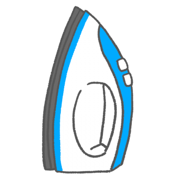 青色のアイロンのイラスト