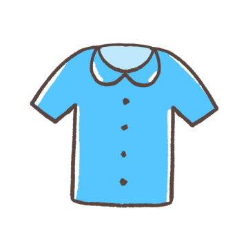 丸襟のブルーのシャツのイラスト
