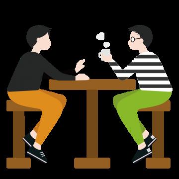 椅子に座って会話をする男性のイラスト