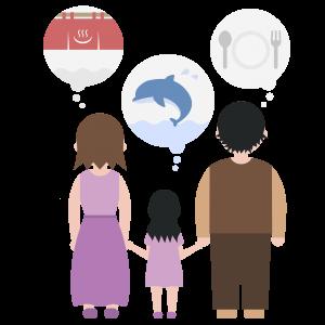 休日の外出先を考える家族のイラスト