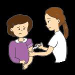 インフルエンザの予防接種を受けているイラスト