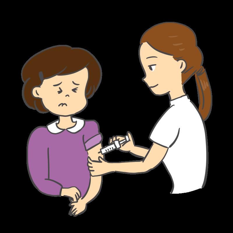 インフルエンザの予防接種を受けるイラスト