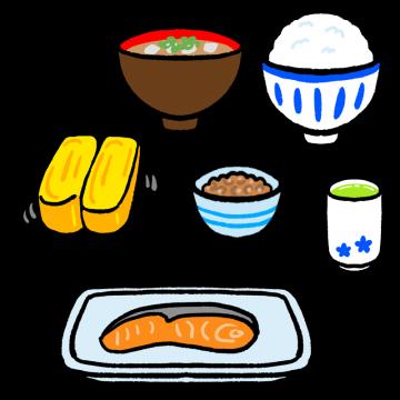和食の朝ごはんのイラスト