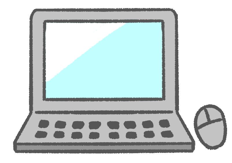 ノートパソコンとマウスの手書きイラスト
