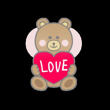 ハートを持ったクマのイラスト