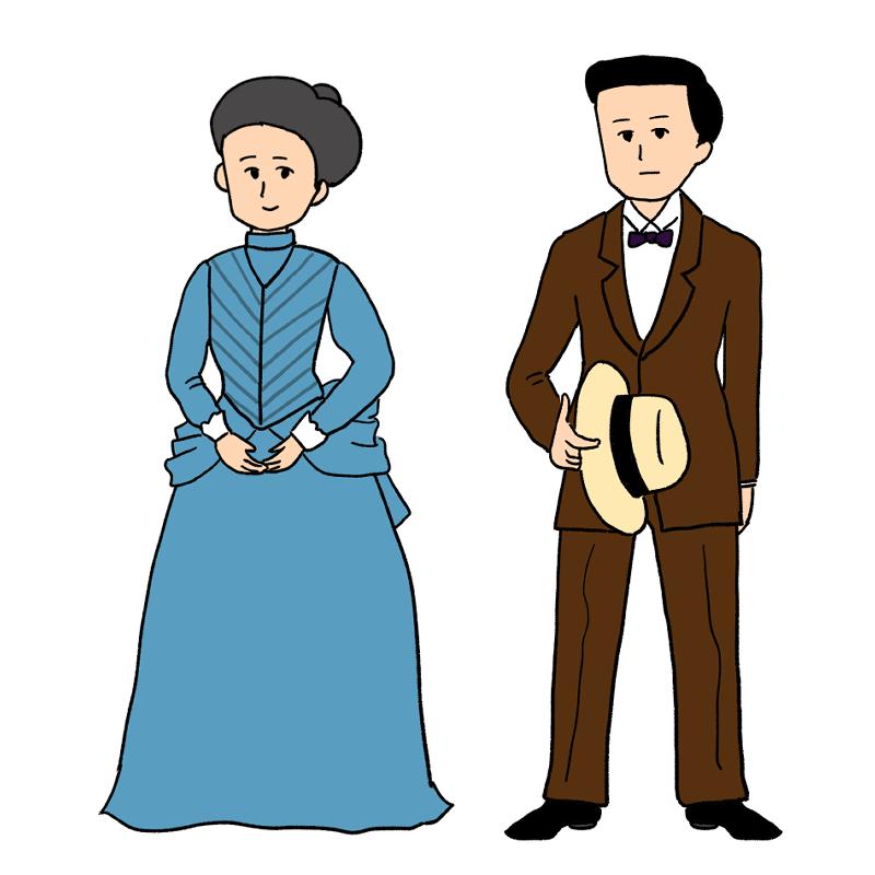 明治時代の男女の洋装のイラスト