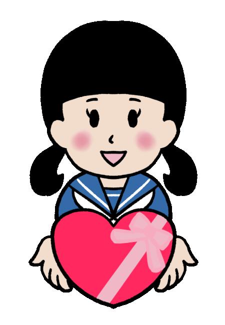 バレンタインデーにチョコレートを渡す女子中学生のイラスト